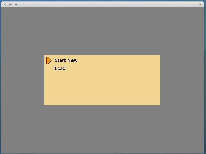 The games main menu screen.